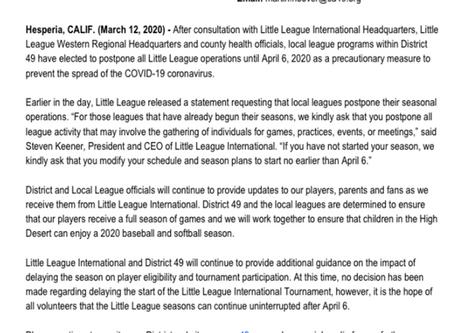 Season suspended by Little League International