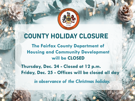 HCD will be Closed at 12 p.m. December 24 and All Day December 25 in Observance of Christmas Holiday