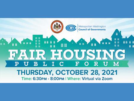 Fairfax County to Host Fair Housing Public Forum October 28