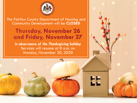 HCD will be Closed November 26 and November 27 in Observance of the Thanksgiving Holiday