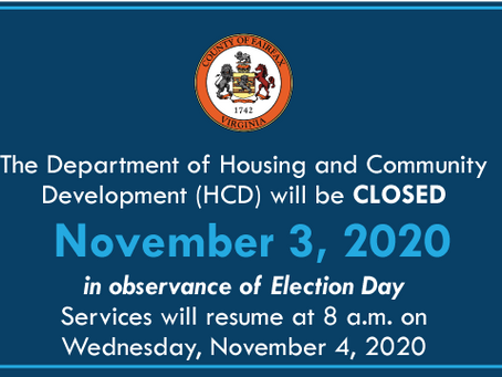 HCD will be Closed November 3 for Election Day