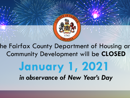 HCD will be Closed January 1 in Observance of the New Year's Holiday