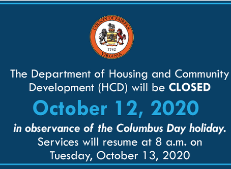 HCD will be Closed October 12 in Observance of the Columbus Day Holiday