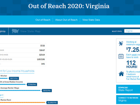 """2020 """"Out of Reach Report"""" Highlights Need for Lower Income Housing, Fairfax County Housing"""