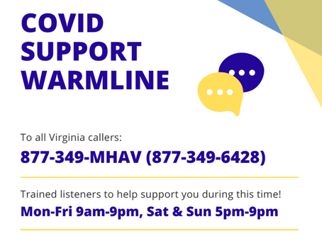 Anonymous Support Line for those Struggling with the COVID-19 Pandemic