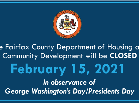 HCD will be Closed February 15 in Observance of George Washington's Day/Presidents Day Holiday