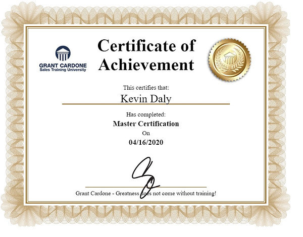 Roofing Sales Certificate