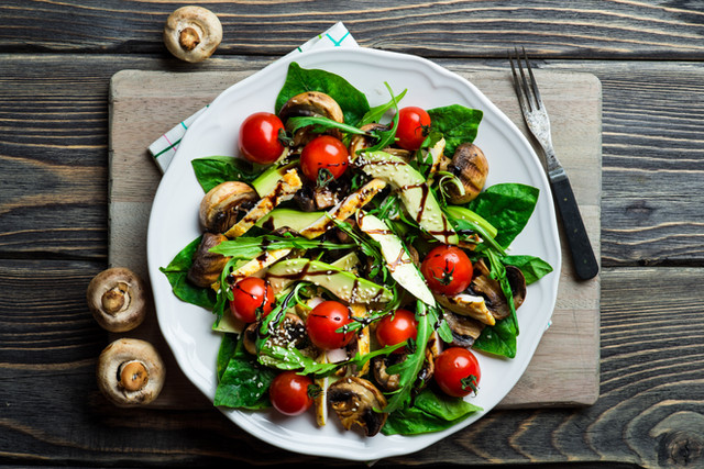 Mushroom Salad with Spinach Leaves  and Avocado