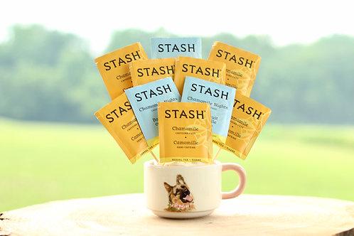 chamomile tea variety tea bouquet gift in german shepherd mug