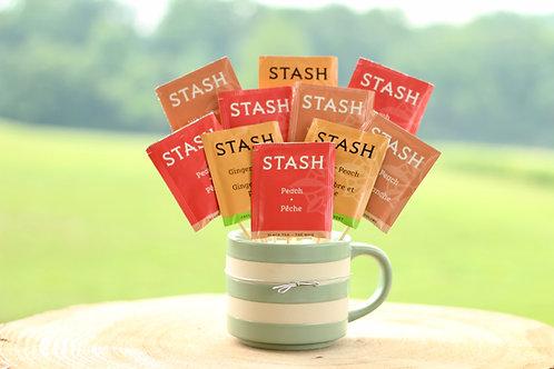 Peach tea variety bouquet gift in mug