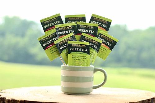 green tea variety bouquet gift in mug