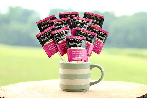 raspberry black tea bouquet gift in mug
