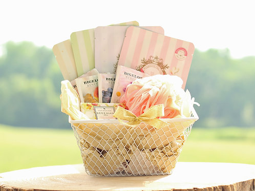 tea spa gift basket deluxe soap loofah masks goat milk beekman 1802 tea soap gift present
