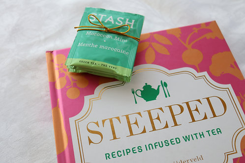 steeped cookbook recipes infused cooking kitchen tea mint teabags with ribbon gift colorful