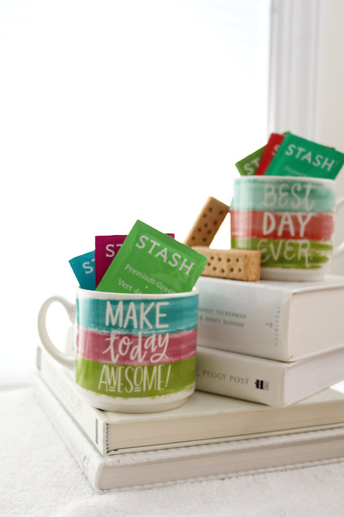 colorful striped mugs biscotti tea gift for two make today awesome best day ever