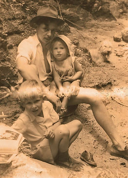 Tanganyika childhood - a picnic near Dodoma with brother Michael and father.