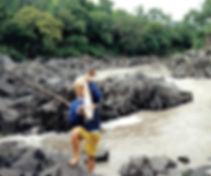 Tanzania childhood - David fishing near Ruaha in 1990