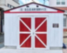 アメリカンスタイルのかっこいいガレージ小屋。