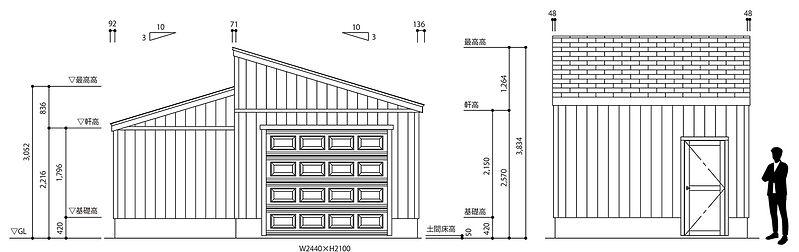 ピットガレージ12平面図立面図
