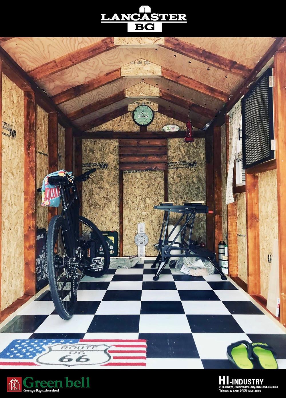 バイクガレージとして人気のランカスターBGは、バイクや自転車の収納やおしゃれ物置としてガーデニングの用具の収納にも適しています。