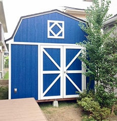 おしゃれでかわいい屋根の小屋です。