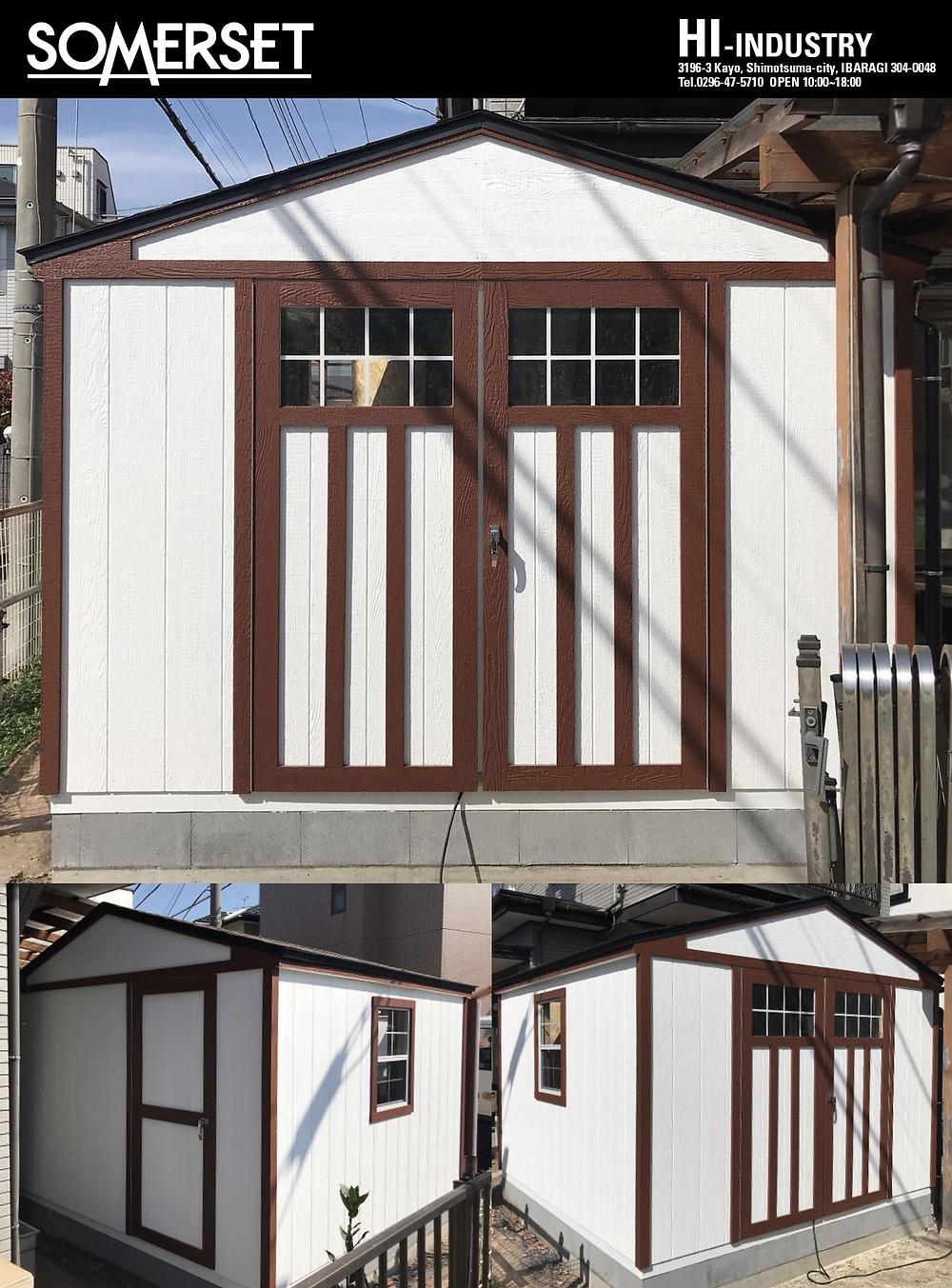 グリーンベルの大きい物置小屋として人気のサマーセットは、おしゃれな大型物置やガレージとしてガーデニング用具の収納、またはバイクガレージにぴったりな大きさです。