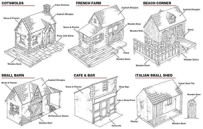 いろいろなイロドリ小屋のイラストです。