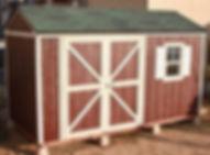 茶色に塗られた物置小屋です。