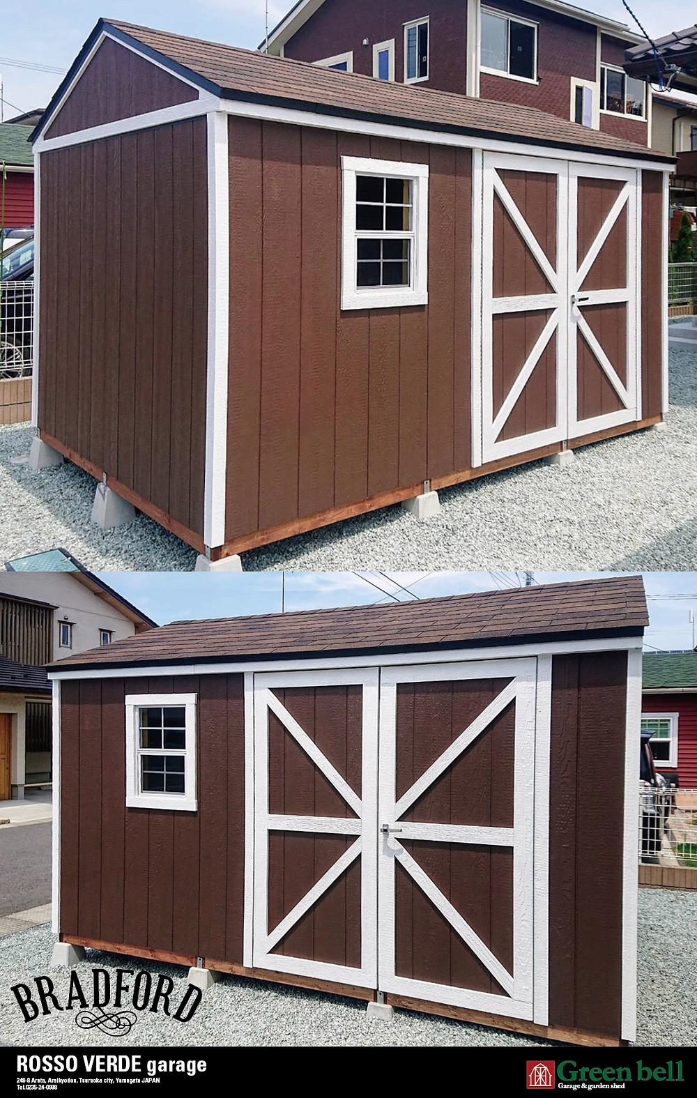 グリーンベルのかわいらしい物置小屋として人気のブラッドフォードは、おしゃれな物置や小屋としてアトリエやガーデニング用具の収納、またはバイクガレージにぴったりな大きさです。