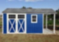 屋根を延長したブラッドフォード物置小屋です。