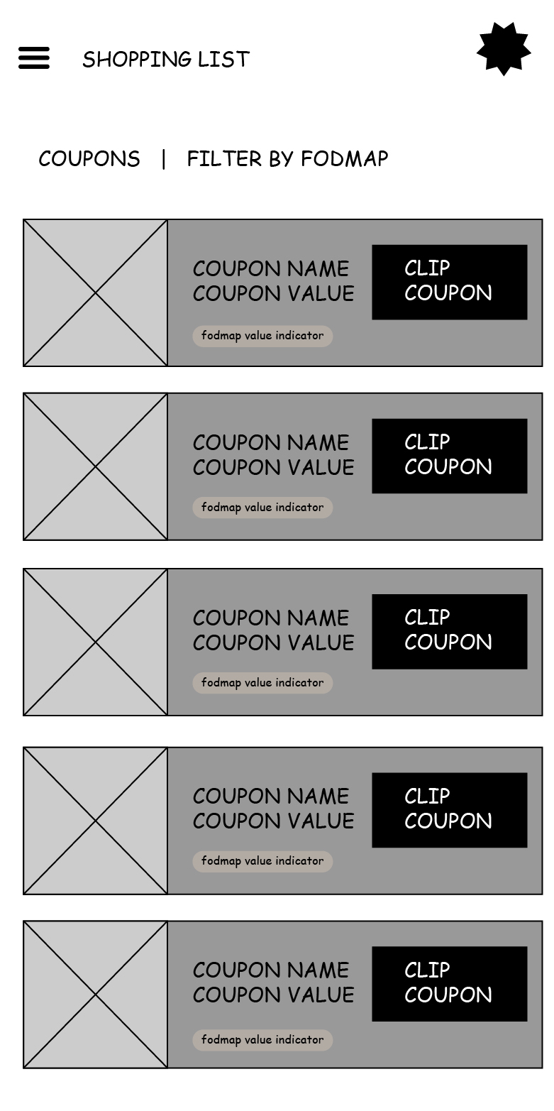 Wireframe - Coupons