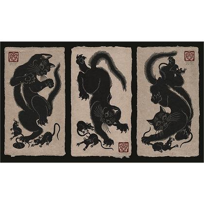 BLACK CATS - set of 3 prints