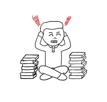 Illustration of person surrounded by books and overwhelmed