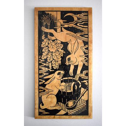 Zaķīšu pirtiņa (Hares in a bath house) on Birch plywood