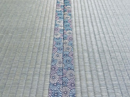 色とりどりの菊花の畳縁とオリジナル畳表、オリジナル畳床プラススーパー竹炭シートで納品完了