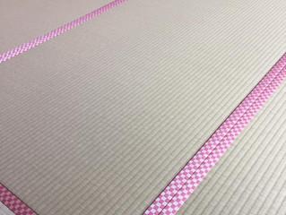 和紙畳表にピンク色系市松柄畳縁