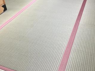 国産麻綿畳表 ピンク系モノグラム柄畳縁 ヘリ付き畳