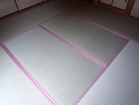 ピンクの桜柄畳縁でお部屋を明るく