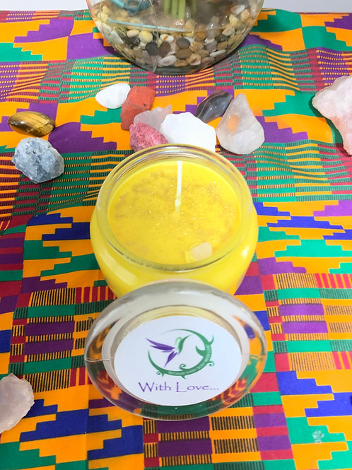 20oz Oshun Candle blessed w/ honey, gold glitter  and yellow jade crystal