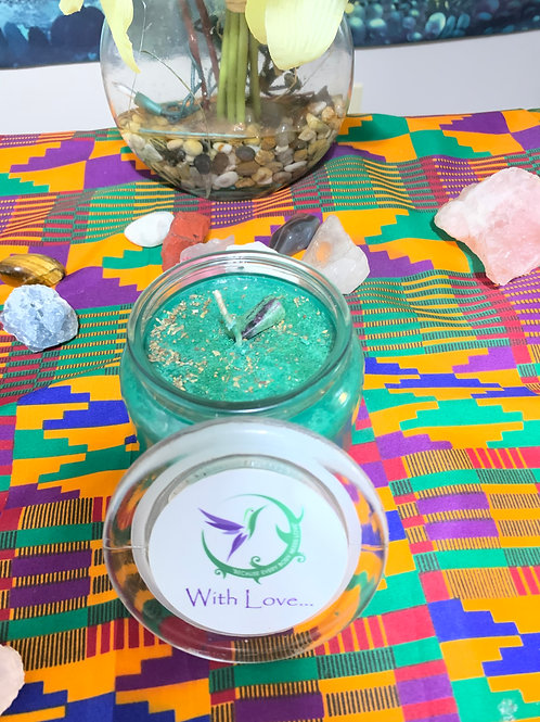 20oz Green candle blessed with green malachite stone, green glitter, and basil