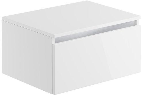 CARINO 600MM 1 DRAWER WALL MOUNTED UNIT & TOP - WHITE GLOSS