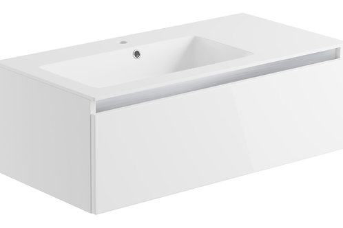 CARINO 900MM 1 DRAWER WALL MOUNTED UNIT & BASIN - WHITE GLOSS