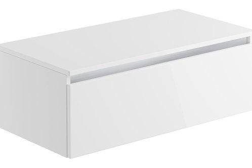 CARINO 900MM 1 DRAWER WALL MOUNTED UNIT & TOP - WHITE GLOSS