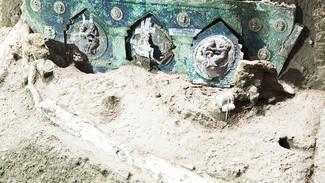 Arqueólogos descobrem carruagem cerimonial romana antiga perto de Pompeia