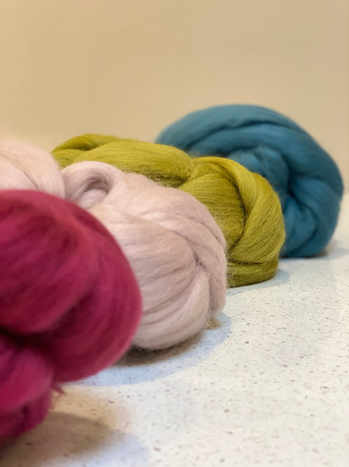 Garden party roving bundle | wool tops