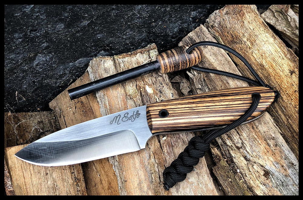 A knife in Zebrano wood, with matching fire steel