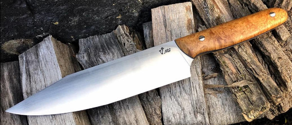 Custom Kitchen Knife with Stabilised birch handle