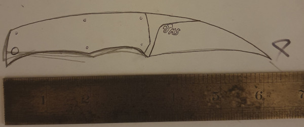 Hand drawn pencil sketch of a knife