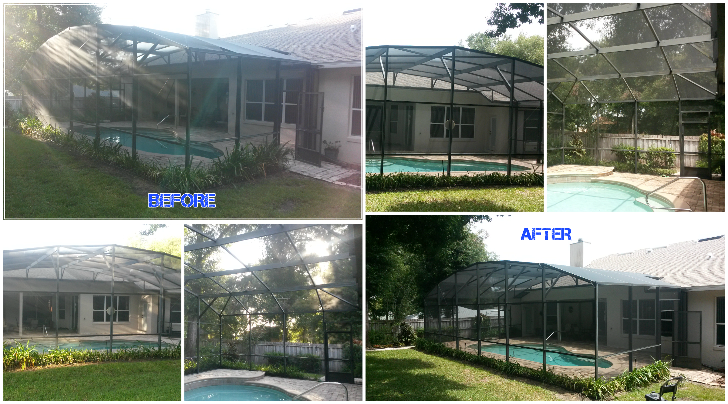 Pool Re-Screen and Pressure Washing