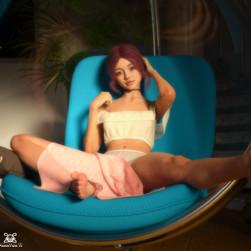 Leah Blue in the Ball Chair: Sunlight